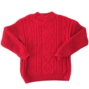 Vintage pictures red ribbed sweater